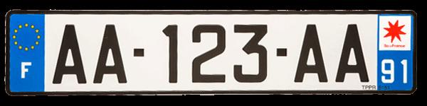 Plaque d'immatriculation voiture sans permis